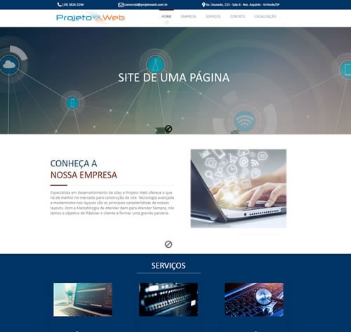 Desenvolvimento de Site de uma Página em Vinhedo, São Paulo – SP
