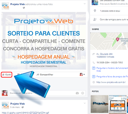 Curta a Publicação da Promoção na Página da Projeto Web No Facebook